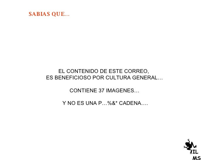 EL CONTENIDO DE ESTE CORREO,  ES BENEFICIOSO POR CULTURA GENERAL… CONTIENE 37 IMAGENES… Y NO ES UNA P…%&* CADENA…. ILMS