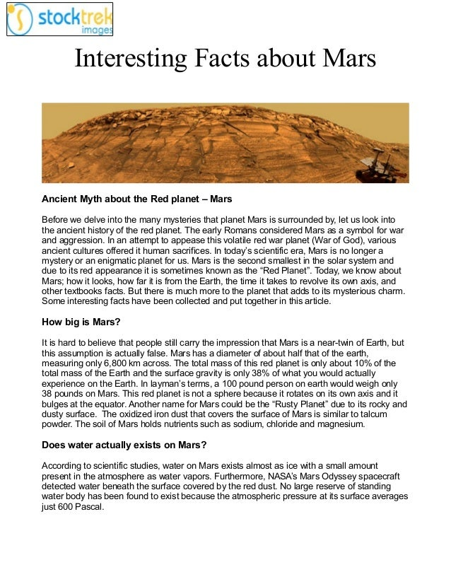 Interesting Facts about Mars  Ancient Myth about the Red planet – Mars Before we delve into the many mysteries that planet...