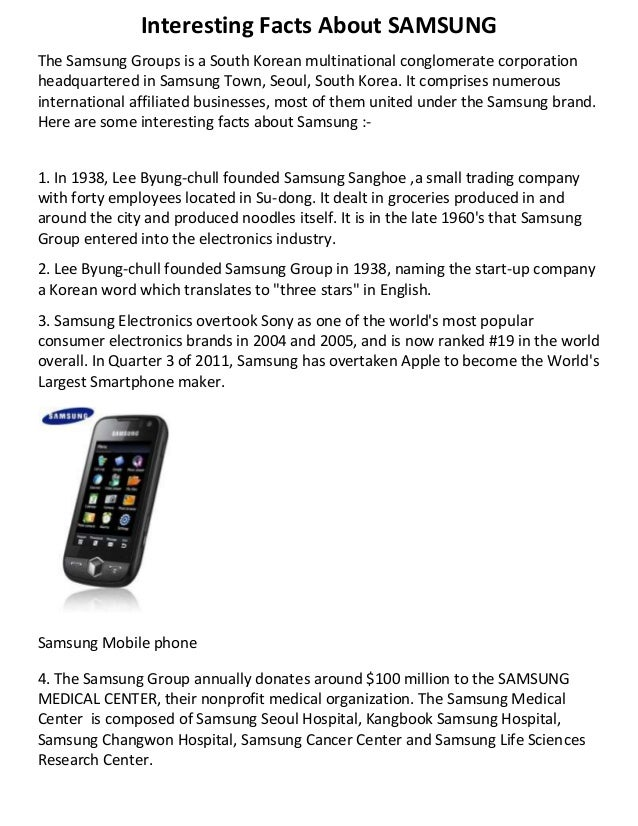 Interesting facts about samsung for Interesting fact about america