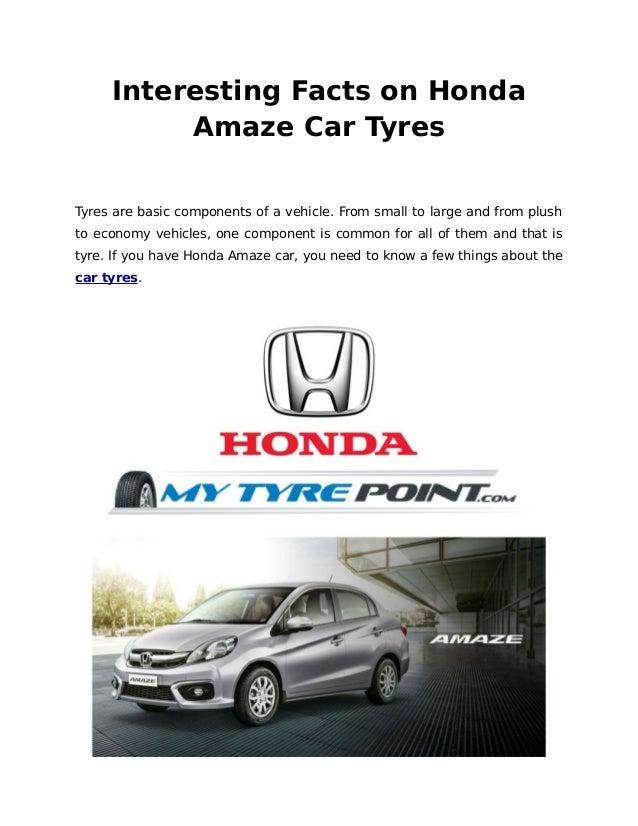 Interesting facts on honda amaze tyres