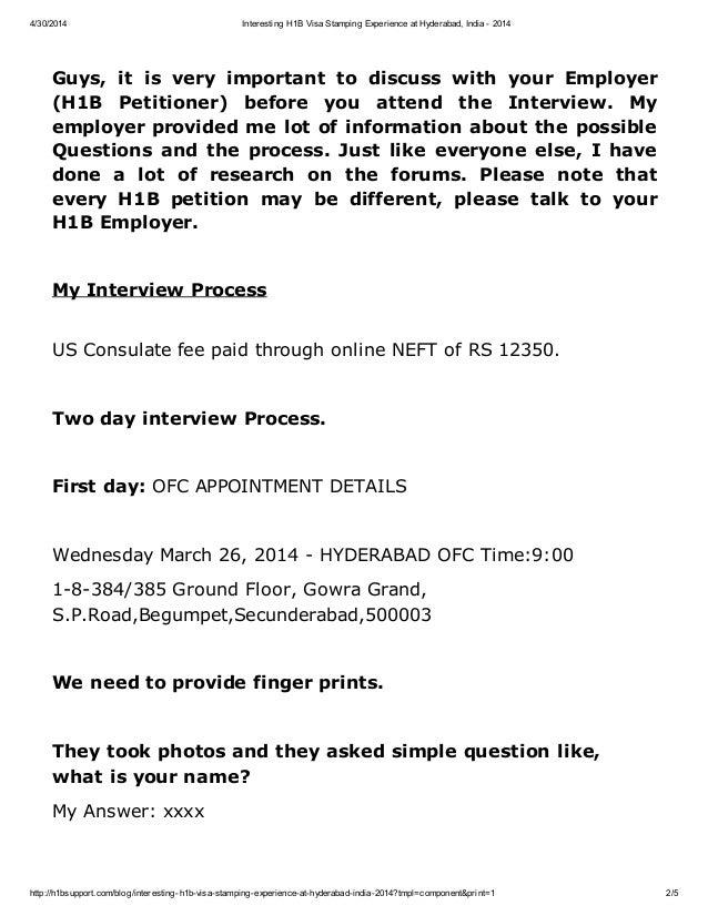 Interesting h1b visa stamping experience at hyderabad, India 2014