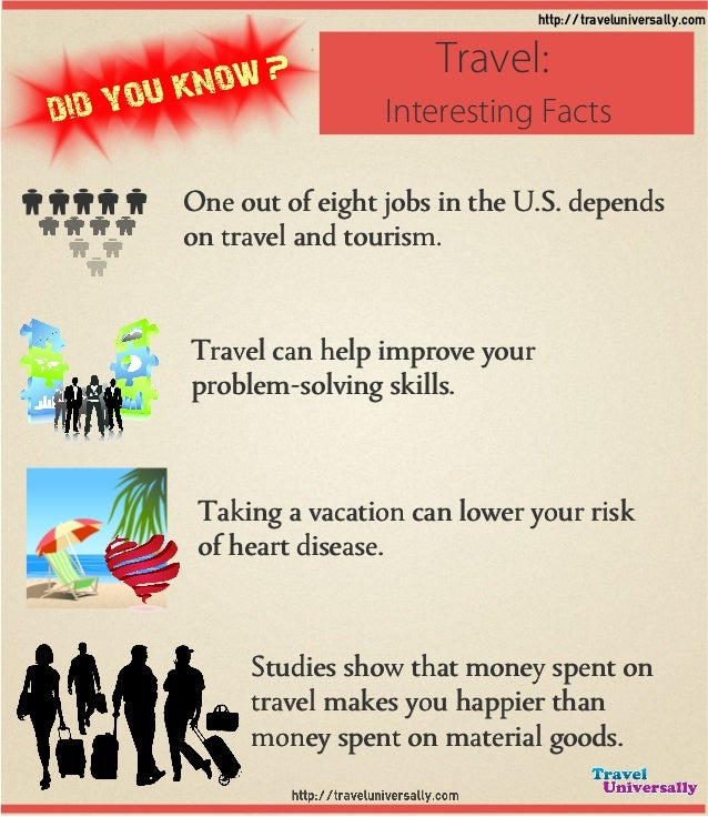 Travel can help improve your problem-solving skills. One out of eight jobs in the U.S. depends on travel and tourism. Taki...