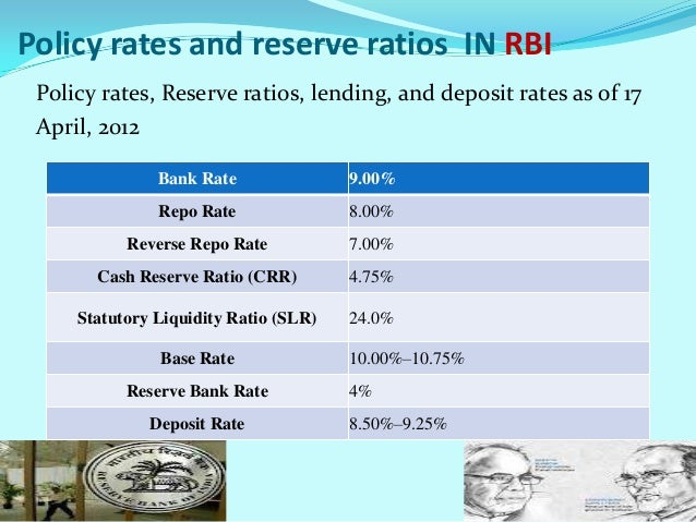 Policy rates and reserve ratios IN RBI Policy rates, Reserve ratios, lending, and deposit rates as of 17 April, 2012      ...
