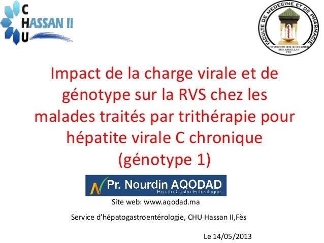 Impact de la charge virale et degénotype sur la RVS chez lesmalades traités par trithérapie pourhépatite virale C chroniqu...