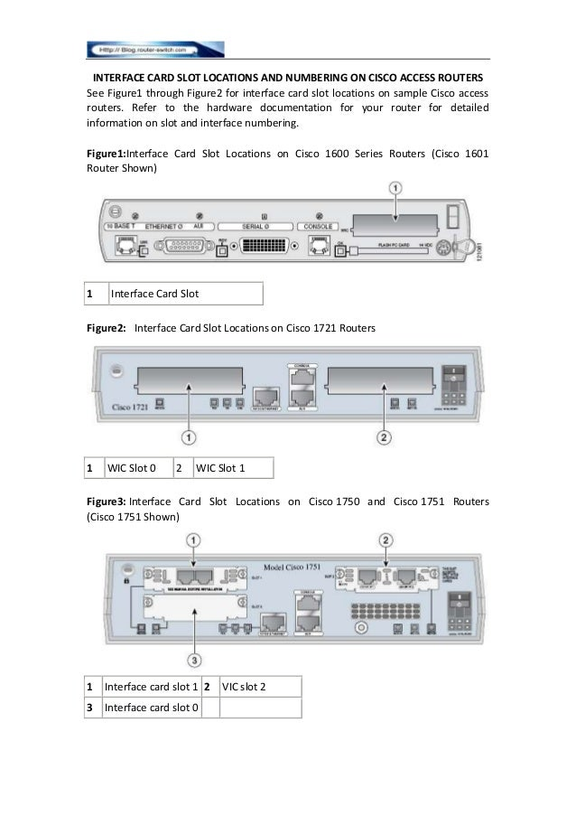 INTERFACE CARD SLOT LOCATIONS AND NUMBERING ON CISCO ACCESS ROUTERS See Figure1 through Figure2 for interface card slot lo...