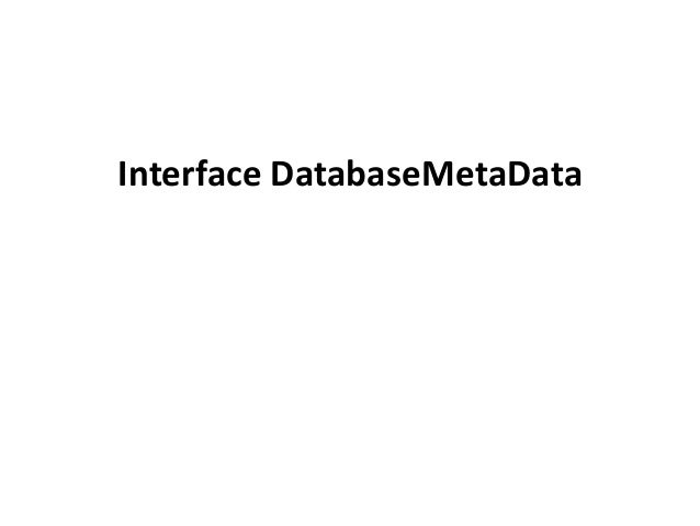 Interface DatabaseMetaData