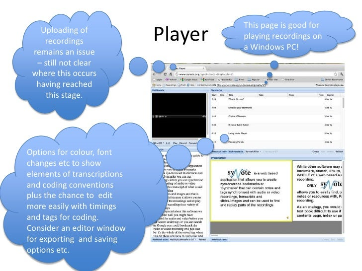 Player <br />Uploading of recordings remains an issue – still not clear where this occurs having reached this stage. <br /...
