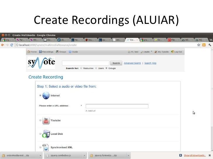 Create Recordings (ALUIAR)<br />