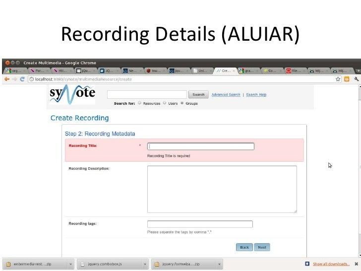 Recording Details (ALUIAR)<br />