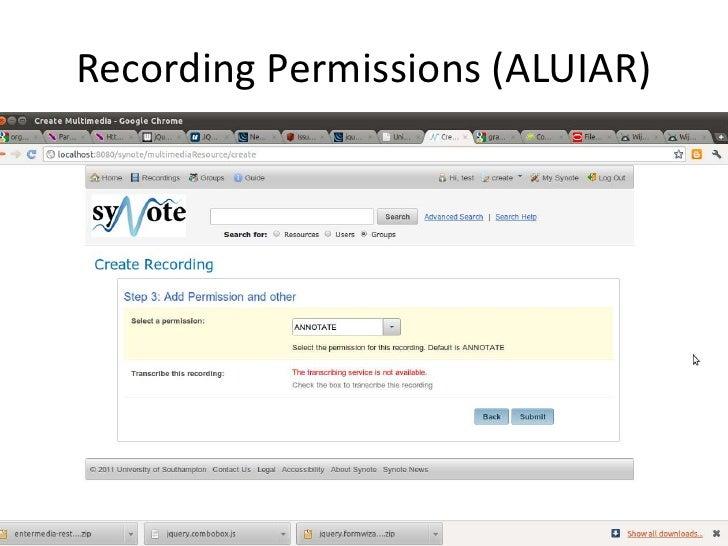Recording Permissions (ALUIAR)<br />