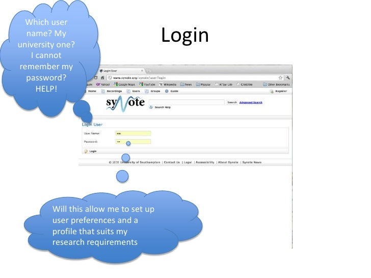 Login<br />Which user name? My university one?  I cannot remember my password?  HELP! <br />Will this allow me to set up u...