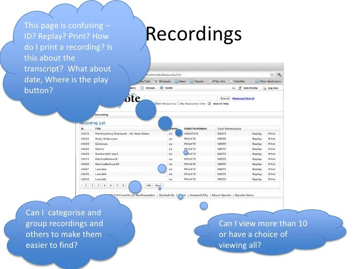 This page is confusing – ID? Replay? Print? How do I print a recording? Is this about the transcript?  What about date, Wh...