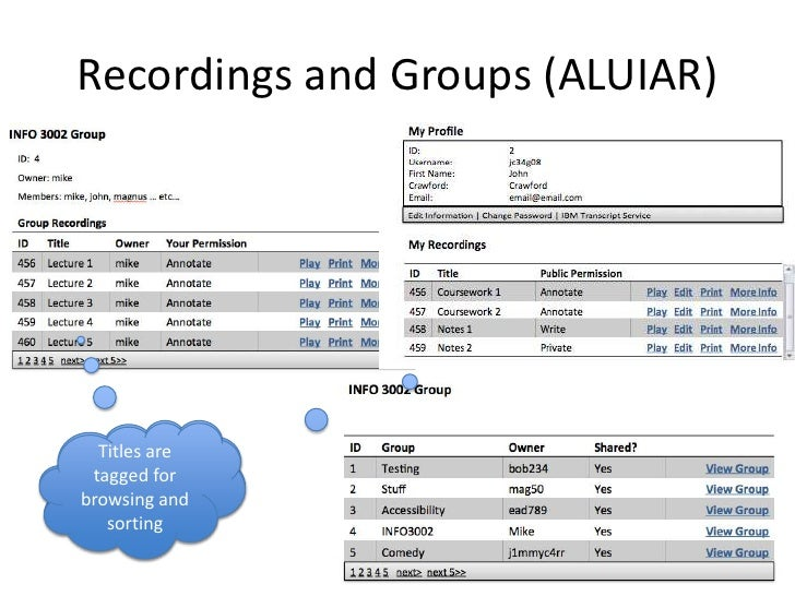 Recordings and Groups (ALUIAR)<br />Titles are tagged for browsing and sorting <br />Titles are tagged for browsing and so...