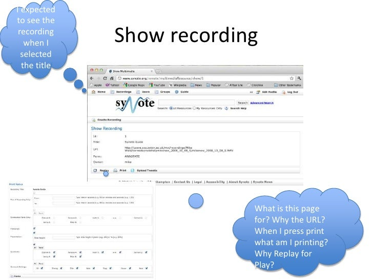 Show recording<br />I expected to see the recording when I selected the title <br />What is this page for? Why the URL?  W...