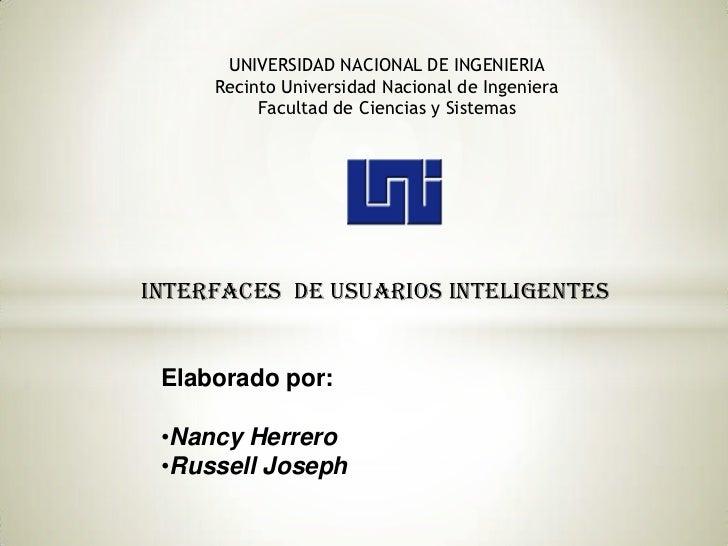 UNIVERSIDAD NACIONAL DE INGENIERIA     Recinto Universidad Nacional de Ingeniera          Facultad de Ciencias y SistemasI...