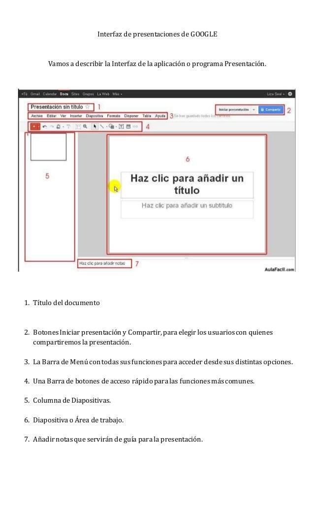 interfaz de presentaciones de google