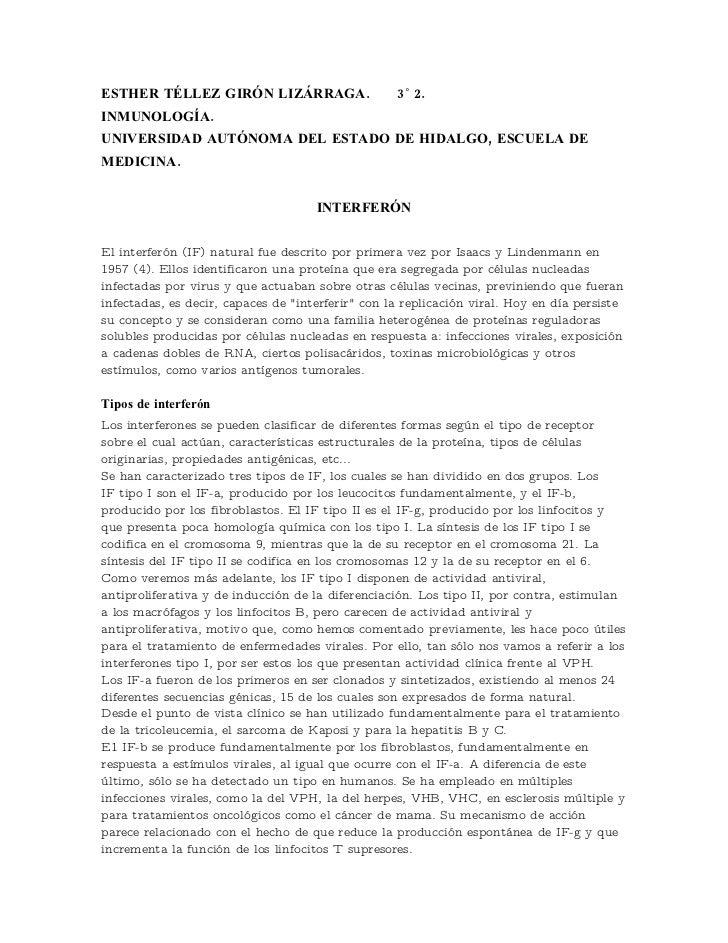 ESTHER TÉLLEZ GIRÓN LIZÁRRAGA.                     3˚ 2. INMUNOLOGÍA. UNIVERSIDAD AUTÓNOMA DEL ESTADO DE HIDALGO, ESCUELA ...