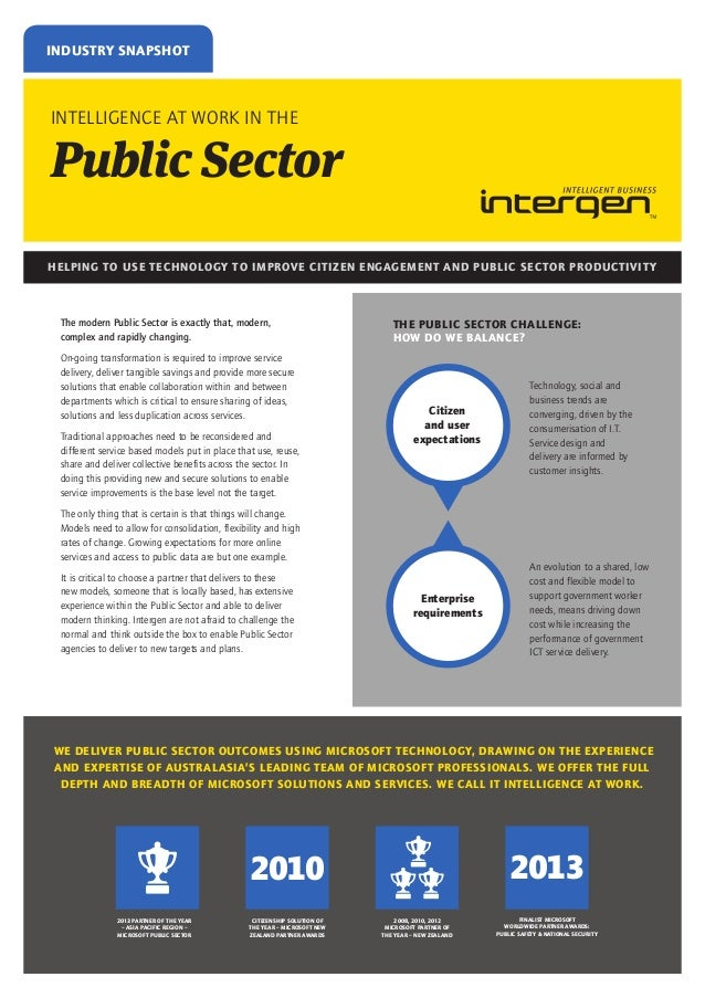 INDUSTRY SNAPSHOT  INTELLIGENCE AT WORK IN THE  Public Sector HELPING TO USE TECHNOLOGY TO IMPROVE CITIZEN ENGAGEMENT AND ...