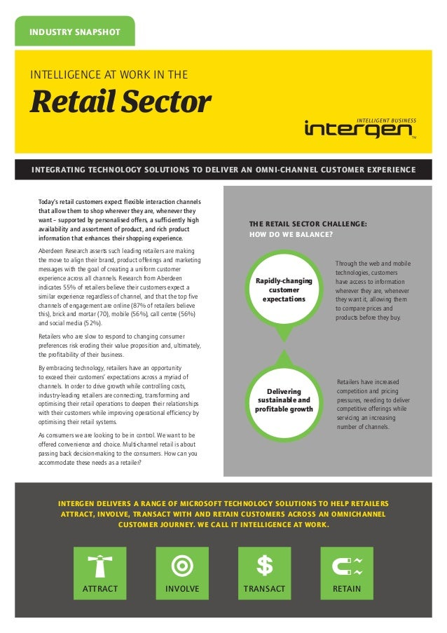 INDUSTRY SNAPSHOT  INTELLIGENCE AT WORK IN THE  Retail Sector INTEGRATING TECHNOLOGY SOLUTIONS TO DELIVER AN OMNI-CHANNEL ...