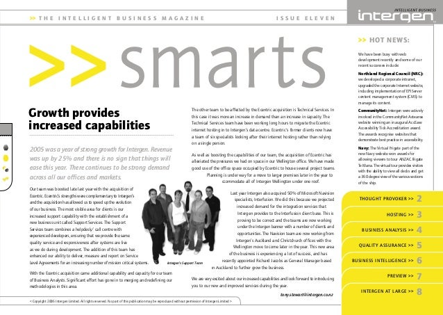 INT SMARTS_11_5 29/3/06 4:40 PM Page 1 The other team to be affected by the Ecentric acquisition is Technical Services. In...