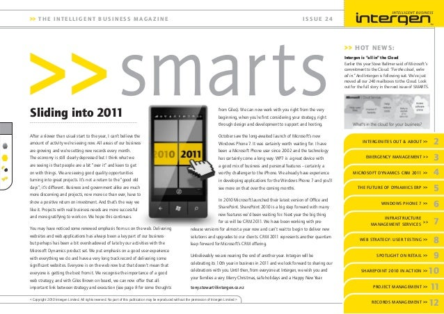 INTERGENITES OUT & ABOUT >> 2 THE FUTURE OF DYNAMICS ERP >> 6WINDOWS PHONE 7 >> 7 INFRASTRUCTURE MANAGEMENT SERVICES 8WEB ...