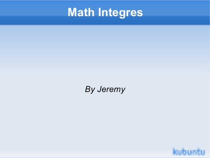 Math Integres By Jeremy
