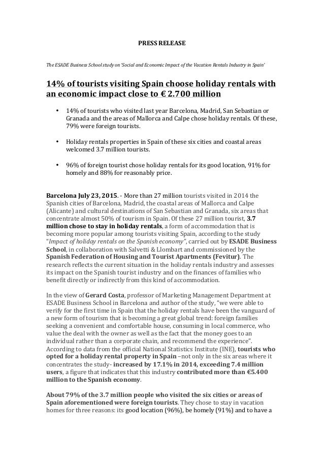 PRESS  RELEASE         The  ESADE  Business  School  study  on  'Social  and  Economic  Impact ...