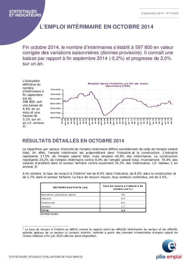 9 décembre 2014 - N°14.026  L'EMPLOI INTÉRIMAIRE EN OCTOBRE 2014  Fin octobre 2014, le nombre d'intérimaires s'établit à 5...