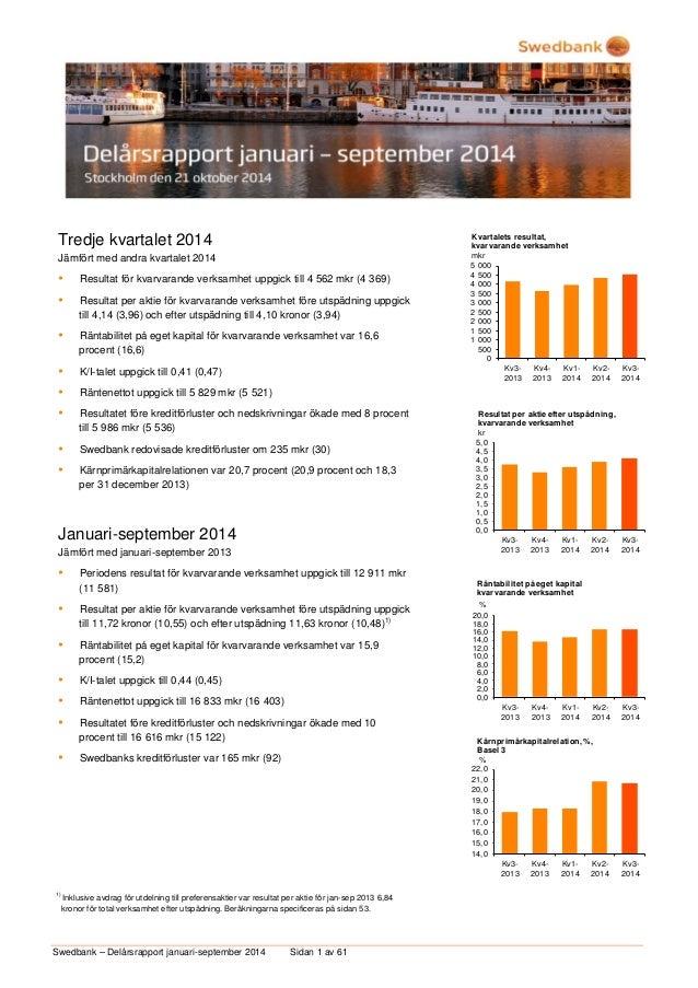 Swedbank – Delårsrapport januari-september 2014 Sidan 1 av 61  Tredje kvartalet 2014  Jämfört med andra kvartalet 2014   ...