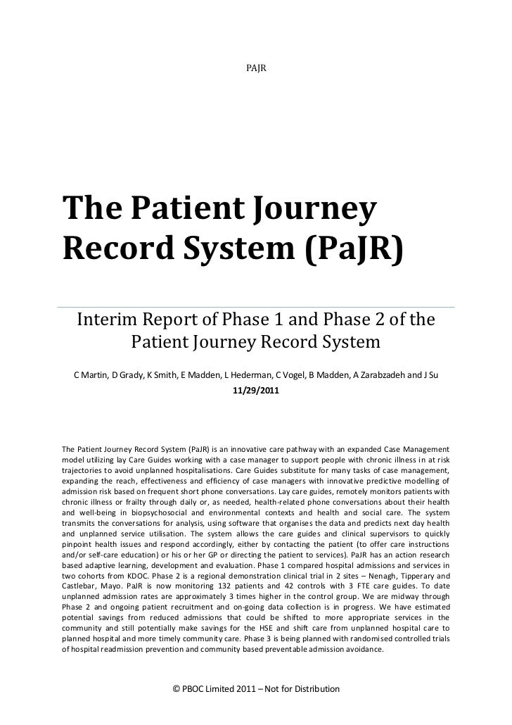 PAJRThe Patient JourneyRecord System (PaJR)    Interim Report of Phase 1 and Phase 2 of the           Patient Journey Reco...