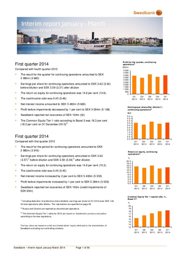 Swedbank – Interim report January-March 2014 Page 1 of 56 First quarter 2014 Compared with fourth quarter 2013  The resul...