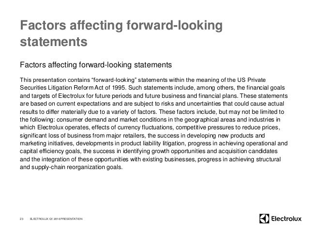 """Factors affecting forward-looking statements Factors affecting forward-looking statements This presentation contains """"forw..."""