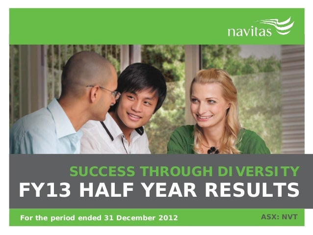 SUCCESS THROUGH DIVERSITYFY13 HALF YEAR RESULTSFor the period ended 31 December 2012   ASX: NVT