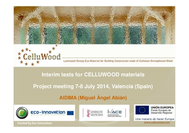 Interim tests for CELLUWOOD materials  Project meeting 7-8 July 2014, Valencia (Spain)  AIDIMA (Miguel Ángel Abián)