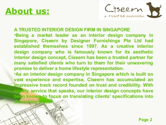 Page 1 Welcome to Ciseern Interior design; 2. Page 2 About us: ...