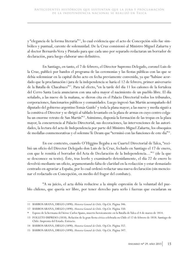 """18 Anuario nO 29, año 2015 academia de historia militar El historiador BarrosArana señala que """"O'Higgins puso su firma al ..."""