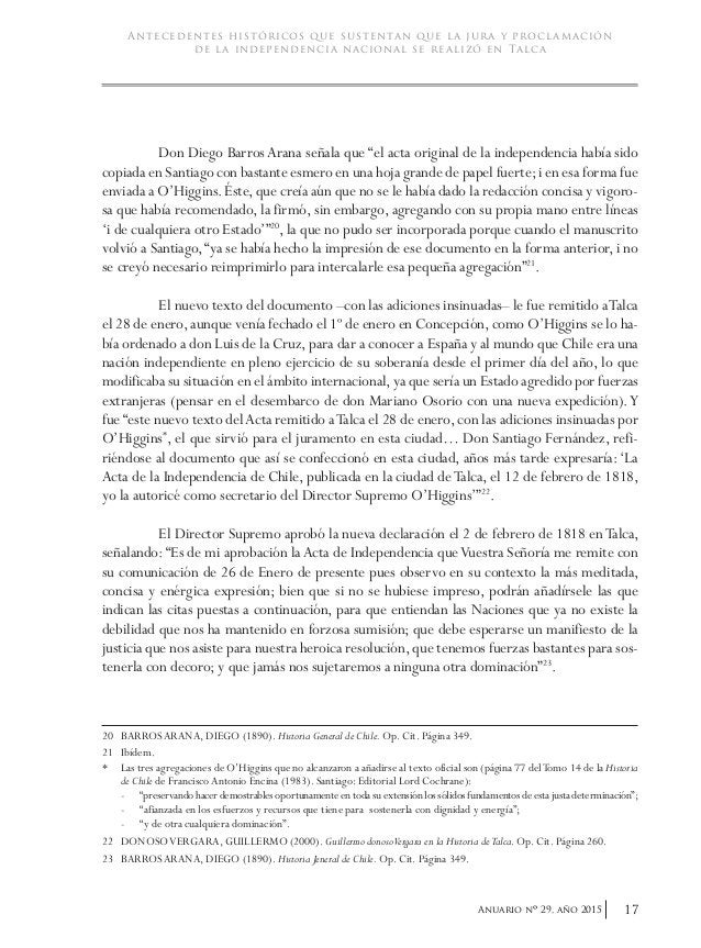 20 Anuario nO 29, año 2015 academia de historia militar de dicho acto Concepción. Seis días después de estas celebraciones...