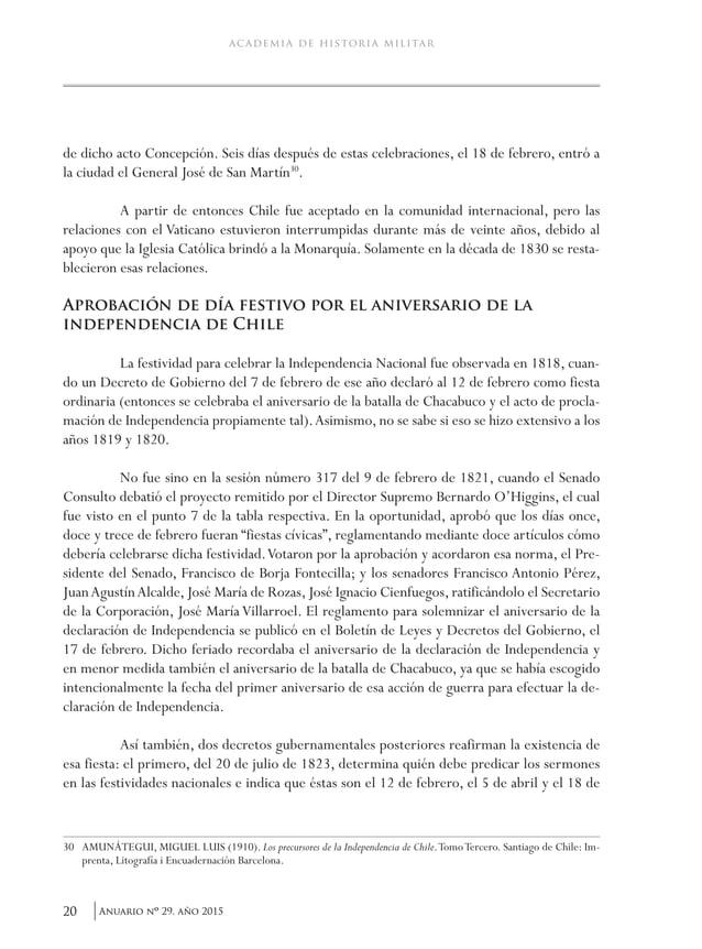 23Anuario nO 29, año 2015 Antecedentes históricos que sustentan que la jura y proclamación de la independencia nacional se...