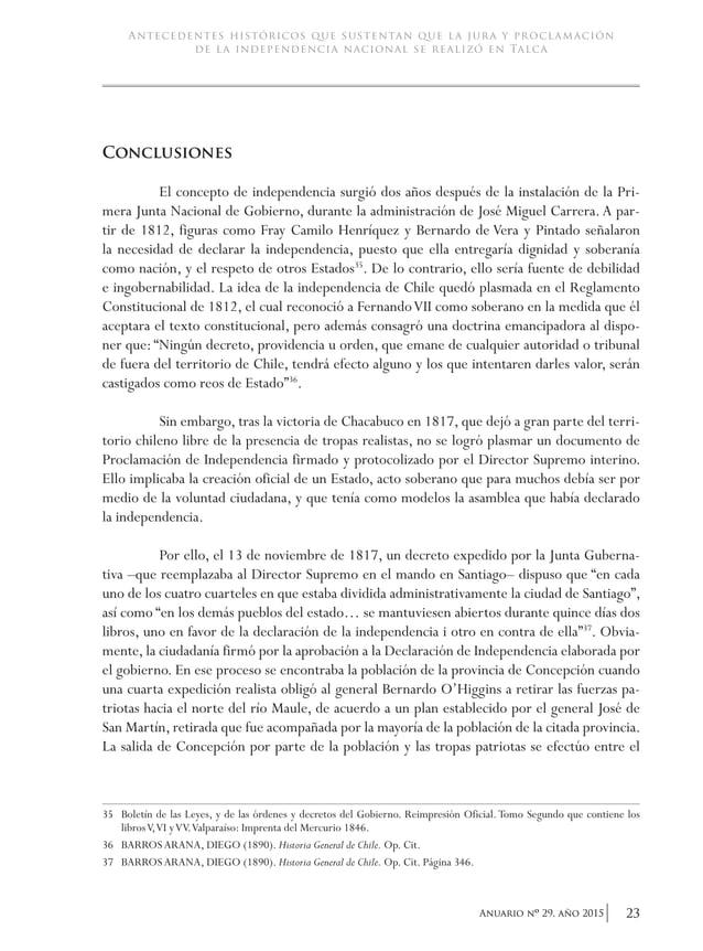 26 Anuario nO 29, año 2015 academia de historia militar - GONZÁLEZ COLVILLE, JAIME (2010). 200 años en el Maule.Talca: Pr...