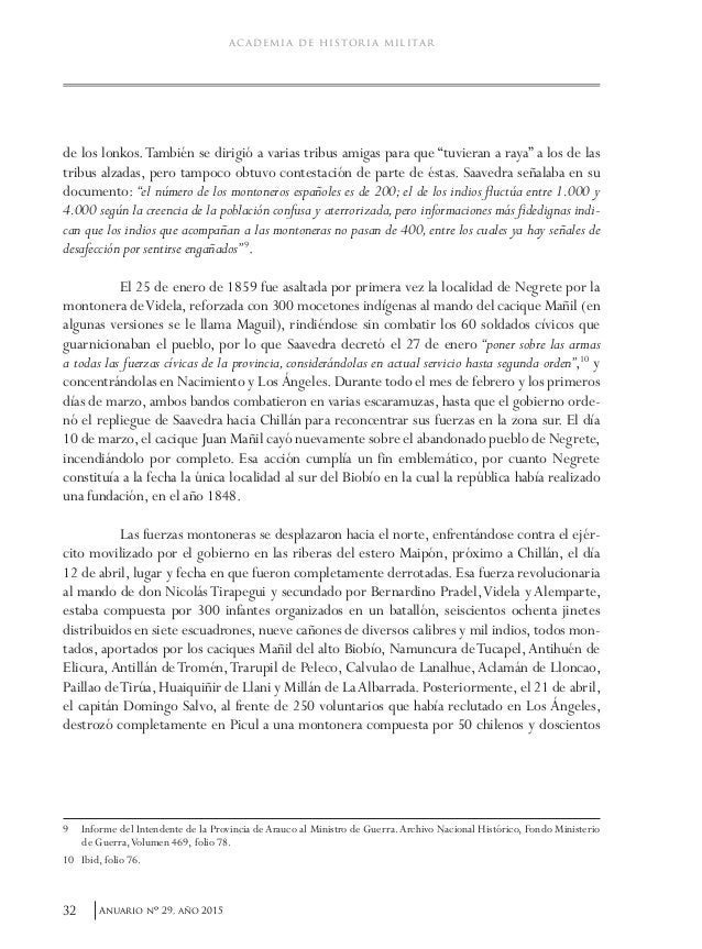 35Anuario nO 29, año 2015 Cornelio Saavedra y su gestión militar fronteriza. 1859-1870 A mediados de marzo, el coronel Vil...