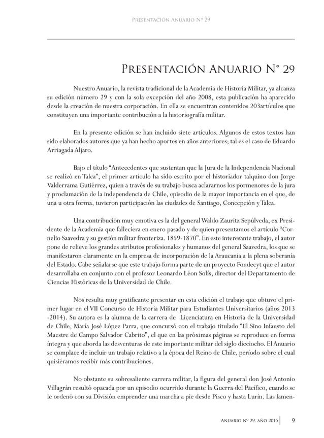 12 Anuario nO 29, año 2015 academia de historia militar El proceso de independencia en Chile La Declaración de Independenc...