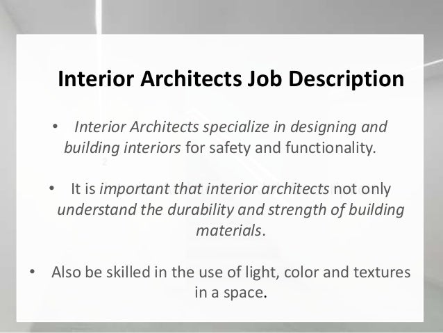 Interior Architecture Job Description