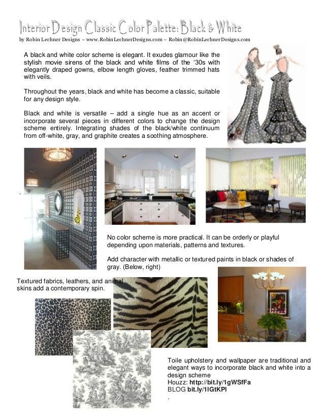 Interior Design Classic Color Palette Black White By Robin Lechner Designs RobinLechnerDesigns RobinRobinLechnerDesigns