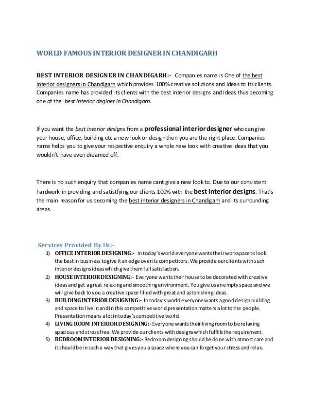 WORLD FAMOUS INTERIOR DESIGNER IN CHANDIGARH BEST INTERIOR DESIGNER IN  CHANDIGARH:  Companies Name Is ...