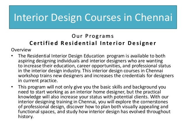 Interior Design Courses In Chennai Our Programs Certified Residential Designer Overview