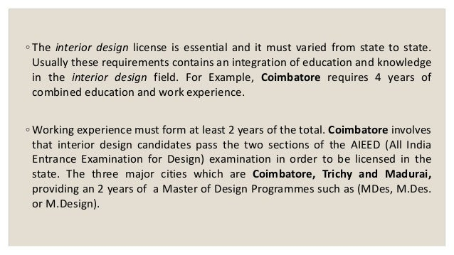 9 O The Interior Design License