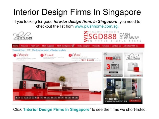 Interior Design Firms In SingaporeIf you looking for good interior design firms in Singapore, you need to              che...