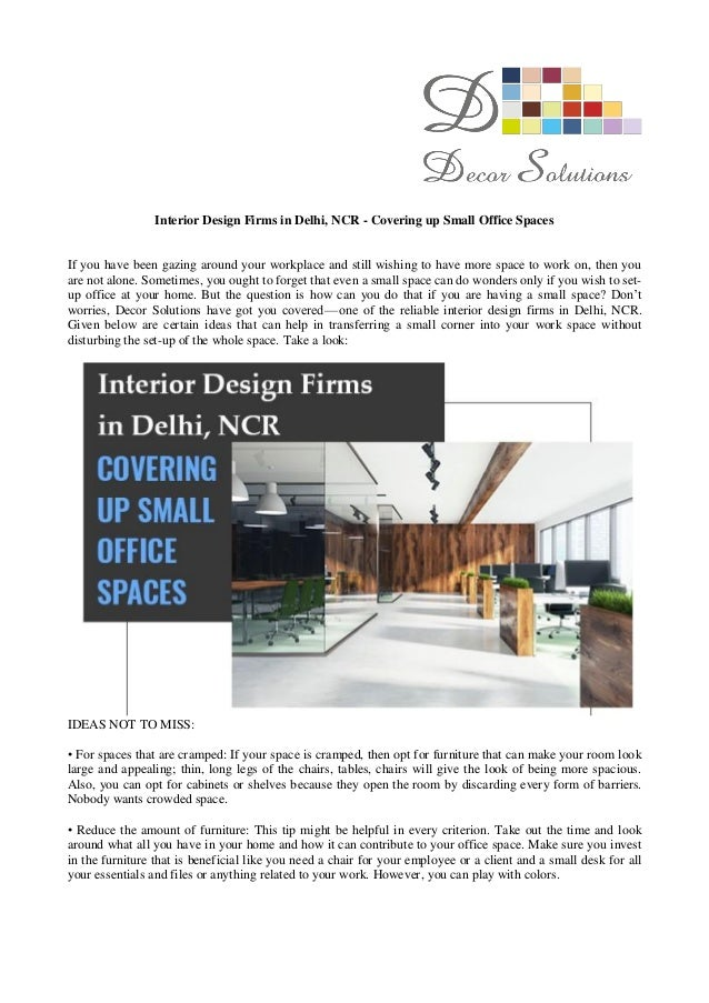 Interior Design Firms In Delhi, NCR   Covering Up Small Office Spaces If  You Have ...