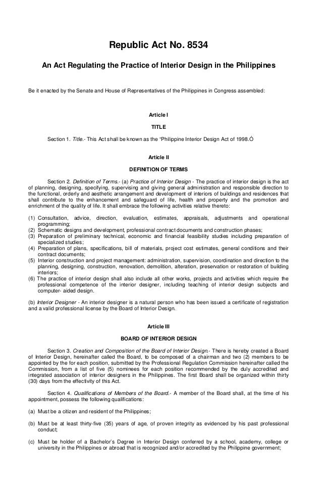 Interior Design Contract Part - 40: 8534 An Act Regulating The Practice Of Interior Design In The Philippines  ...