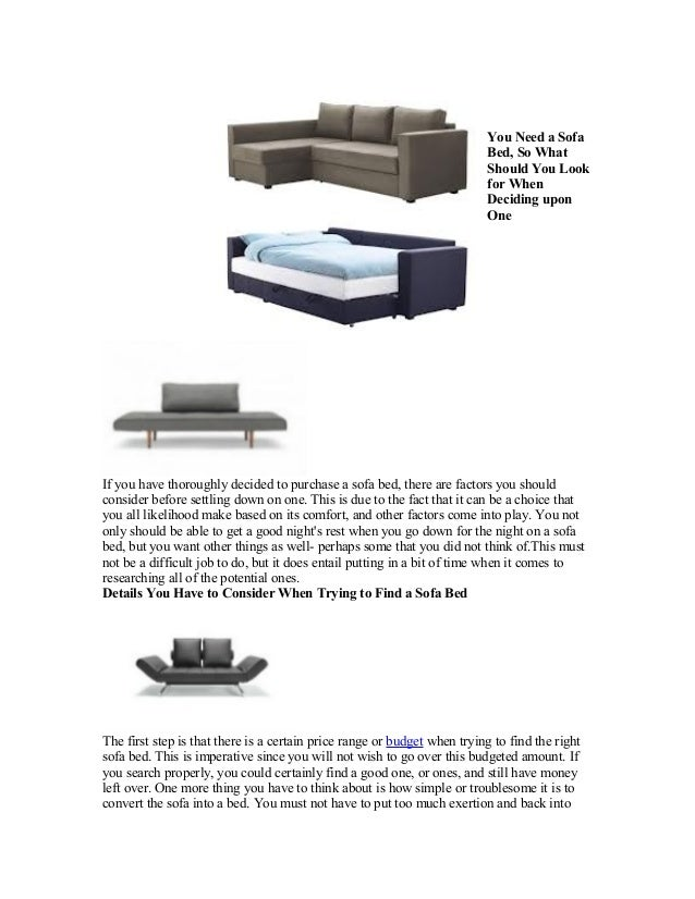 You Need a Sofa                                                                          Bed, So What                     ...